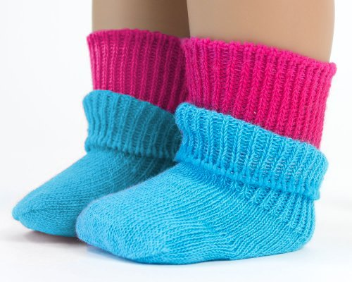 18 Inch Doll Socks - 2 Pair Set for American Girl Dolls, by Sophia's, Fun Pink & Blue Doll Socks