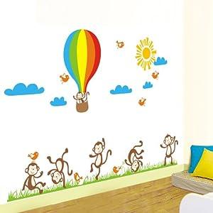 Walplus AY847 - Adhesivos de pared con diseño de monos y globo de Walplus