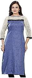 Twinkal Women's Pure Khadi Straight Fit Embellished Kurti / Kurta (Twkr00099, Blue, L)