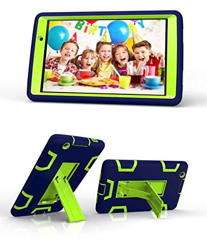 LG G Pad X 8.0 / G Pad III 8.0 Case, [Kickstand] 3 in 1 Hybrid Shockproof Impact Resistant Armor Defender Protection Cover for LG G Pad X 8.0 V521 / G Pad 3 8.0 V525 Tablet (navy blue+green) (Lg Tablet Covers compare prices)