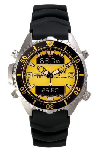 Chris Benz Depthmeter Digital 200m Yellow KB Diving Watch for Him Diving Computer