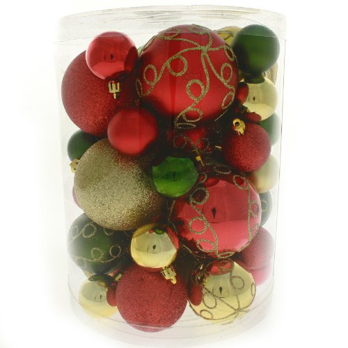 50 Piece Deluxe Christmas Tree Bauble Decoration Pack - Red / Gold / Green