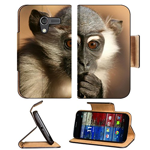 Baby Monkey Baboons Wildlife Animal Motorola Moto X Flip Case Stand Magnetic Cover Open Ports Customized Made To Order Support Ready Premium Deluxe Pu Leather 5 7/16 Inch (138Mm) X 3 1/16 Inch (78Mm) X 9/16 Inch (14Mm) Luxlady Mobility Cover Professional front-63466