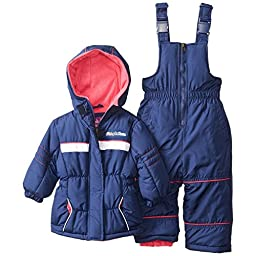 Pink Platinum Baby Girls\' Athletic Snowsuit, Navy, 18 Months