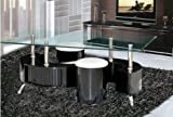 S Shape Clear Glass / Black Gloss Coffee table + Storage Draws 2 Stools & Chrome