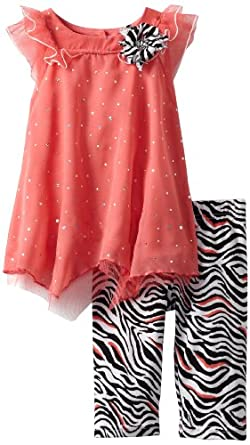 Little Lass Baby-girls Infant 2 Piece Capri Set with Printed Legging, Coral, 18 Months