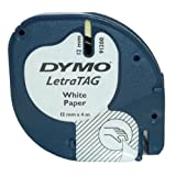 Dymo LetraTag Labelling Tape 12mm x 4m Paper - Black on Whiteby Dymo