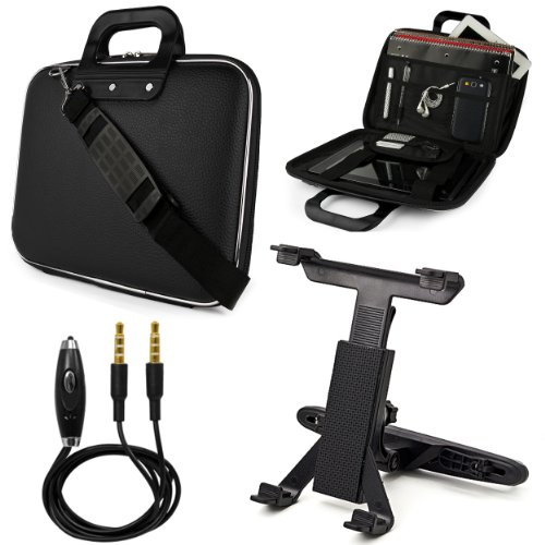 Black Sumaclife Cady Bag Case W/ Shoulder Strap For Asus Eee Slate B121 Windows 7 Professional 12.1-Inch Tablet + Headrest Mount + Auxiliary Cable
