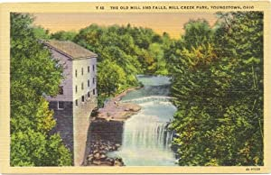 1940s Vintage Postcard - The Old Mill and Falls at Mill Creek Park -Youngstown Ohio