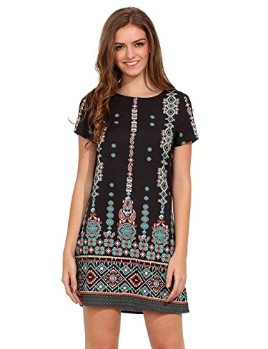 Milumia Women's Bohemian Aztec Print Ethnic Style Summer Shift Dress Black M