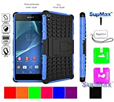 buy Sony Xperia Z3 Case,Sony Z3 Case,Supmax™ *Hybrid Rubberized* *Tpu+Pc* [Scratchproof] [Shock Proof] [Skidproof] Impact Resistant Hard Shell With Kickstand [Gifts] For Sony Xperia Z3 (Blue)