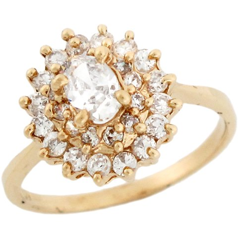 10k Yellow Gold White CZ Fancy Womens Engagement Ring