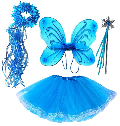 Frozen Inspired Girls Fairy Costume 4 Pc Set with Wings Headband and Wand
