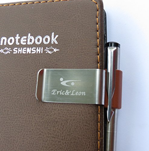 2x Pen Loop Traveler Notebook Leather Pen Holder with Stainless Steel Clip, Leather Loop (Brown)