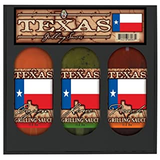 TEXAS FLAG GRILL SET: Lime, Peach, Cajun Grilling Sauces in gift box 3pk