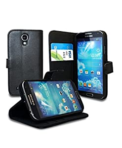 Sell-Ideas® Leather Wallet Cover Case Pouch with Built in Stand for Samsung Galaxy S4 Mini, Galaxy S IV Mini With Free Stylus and Screen Cover (Stand Wallet - Black)