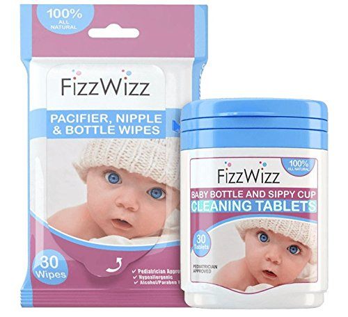 FizzWizz Natural Cleaning Tablets with Pacifier Wipes for Baby Bottles / Sippy Cups (Bottle Sterilizer For Dishwasher compare prices)