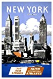 VPS Vintage Aer Lingus New York Travel Poster A3 Print
