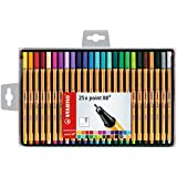 Stabilo Point 88 coffret de 25 Stylos-feutres 0,4 mm Couleurs assorties