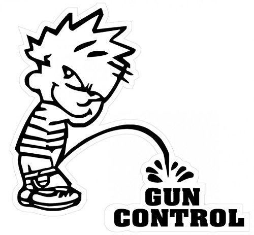 1Pc Extreme Popular Funny Boy Peeing Piss Gun Control Sticker Signs Military Security Firearm Size 5