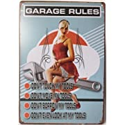 Garage Rules Do Not Touch My Tools Retro Vintage Tin Sign 12
