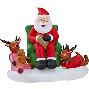 Inflatable santa story time scene christmas for Amazon christmas lawn decorations