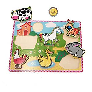 'In The Country' Wooden Puzzle, Chunky Lift Out Pieces