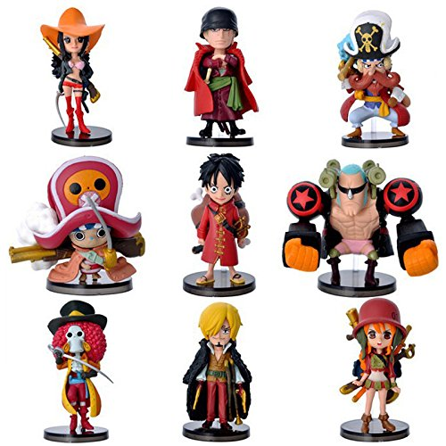 One Piece 8cm 9pcs/set Luffy Zero Nami Usopp Tony Chopper Sanji Nico Franky Brook PVC Action Figure Toys