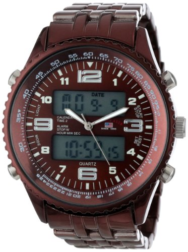 U.S. Polo Assn. Classic Men'S Us8461 Analog-Digital Brown Dial Brown Plated Bracelet Watch