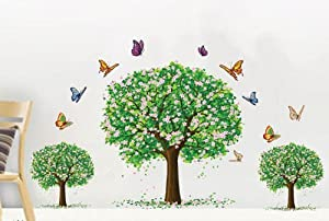 OneHouse Spring Three Trees with Flying Colorful Butterflies Wall Sticker for Sitting Room Wall Decal Decor from OneHouse