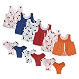 #3: Littly Baby Girl's Regular Wear 100% Pure Cotton Jhabla Dress With Panty For New Born, Pack of 12 (Multicolor, 0-6 Months)