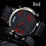 腕時計 メンズ ブランド DUAL∞DESTINY ビッグフェイス イミテーションクロノ カラーステッチ ラバーベルト (レッド)