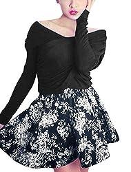 Women V Neck Sexy Top w Floral Prints A-Line Skirt