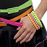 80er Jahre Perlen Armbänder Neon 4er-Set von Smiffys