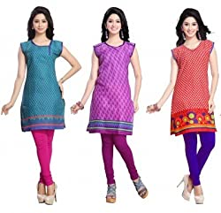 trendbend combo of 3 kurti with leggings for women