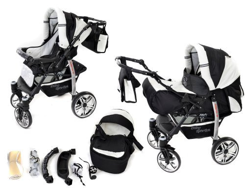 2-in-1 Travel System incl. Baby Pram with 360° Swivel Wheels, Pushchair & Accessories, Black & White