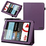 Evecase SlimBook Leather Folio Stand Case Cover for E-Fun Nextbook Premium 8HD (NX008HD8G) - 8 inch Tablet [June 2013 Walmart Release] - Purple