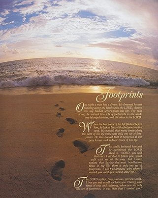 Footprints Beach Scenic Motivational Poster 16 x 20 inches