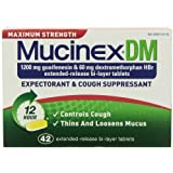 Mucinex DM Maximum Strength 12-Hour Expectorant and Cough Supressant Tablets, 42 Count (Pack of 3)