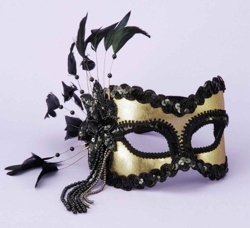 Gold & Black 1/2 Mardi Gras Mask Mardi Gras Costume Mask 59520