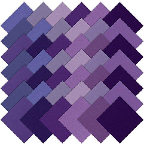 Studio RK Kona Cotton Solids Lavender Fields Charm Squares 42 5-inch Squares Charm Pack Robert Kaufman Fabrics CHS-348-42