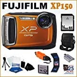 FujiFilm Finepix XP150 2.7in LCD Digital Camera Orange + 16GB Memory Card + Well Padded Digital Camera Carrying Case with Pocket and Strap + Memory Card 3 Pocket Storage Case + Accessory Kit