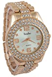 Timiho Circular White Dial With Crystal Studded Gold Belt Watch For Women