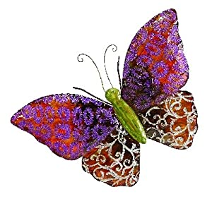 "Amazon.com - Beautiful Metal Butterfly Wall Art Plaq 23""w, 17""h"