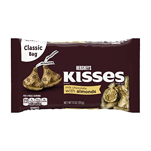 Hershey's Kisses Milk Chocolate with Almonds, 11-Ounce Bags (Pack of 6)
