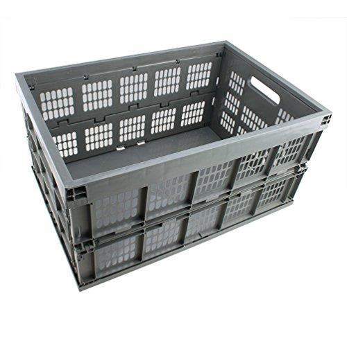 Agptek® 42L Collapsible Plastic Storage Crate Folding Shopping Basket Box 52.8 X 35.8 X 27.2 Cm (Gray)