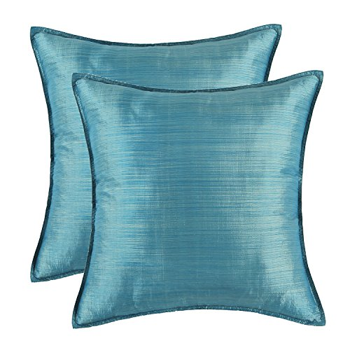 For Sale! SET OF 2 Euphoria Cushion Covers Pillows Shells Light Weight Dyed Stripes Teal Color 18&qu...