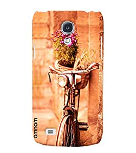 Omnam Vintage Cycle Standing On Wall With Flower Bucket Designer Back Cover Case for Samsung Glaxy S4