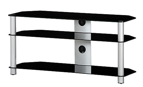 RO&CO M-1303 NG - Mueble TV de 3 estantes. Vidrio negro / Chasis de color gris. Ancho 130 cms.