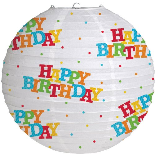 Happy Birthday Stripes Paper Lantern 12-inch - 1